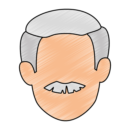 cute grandfather head avatar character vector illustration design