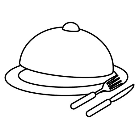 tray server with cutleries vector illustration design