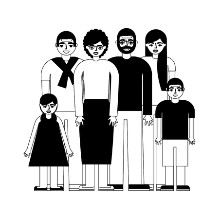 group of family members characters vector illustration design