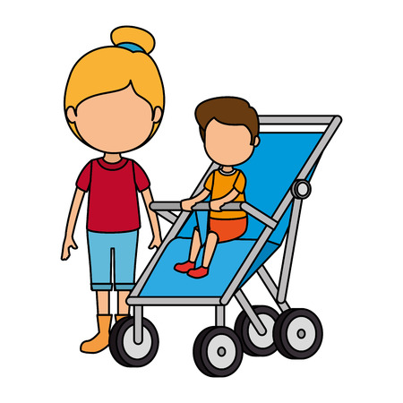 baby boy in cart with sister vector illustration design Stock Illustration - 105630474