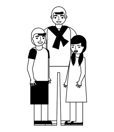 man with girl and boy family vector illustration monochrome