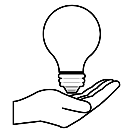 hand with bulb light vector illustration design