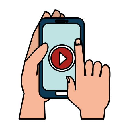 main humaine avec smartphone et lecteur multimédia design d'illustration vectorielle Vecteurs