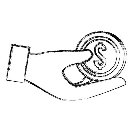 hand with coin money vector illustration design  イラスト・ベクター素材