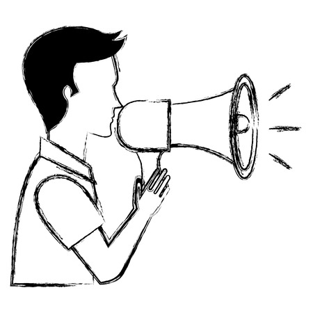 man talking with megaphone sound vector illustration design Vecteurs