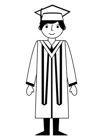 graduate man with graduation robe and cap vector illustration black and white