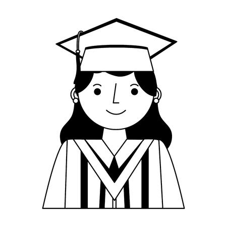 Sonriente mujer graduada retrato personaje vector ilustración en blanco y negro