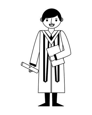 graduate man with graduation robe holds certificate vector illustration black and white