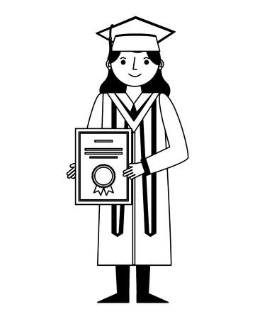 Mujer graduada en toga y gorra de graduación tiene diploma ilustración vectorial en blanco y negro Ilustración de vector