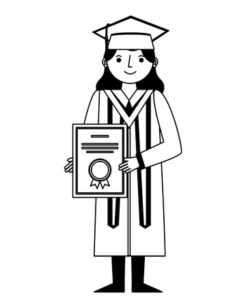 graduate woman in graduation robe and cap holds diploma vector illustration black and white
