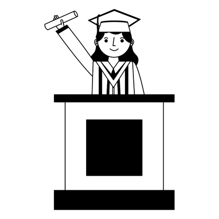 graduate woman in podium giving speech vector illustration black and white Illustration