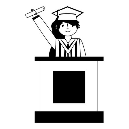 graduate woman in podium giving speech vector illustration black and white Illustration