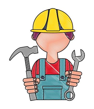 man builder with hammer and wrench key tool vector illustration design Иллюстрация