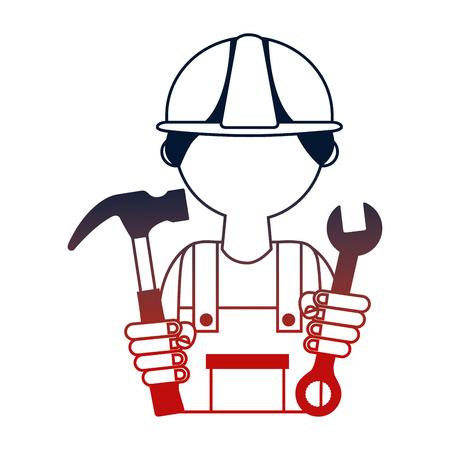 Hombre constructor con martillo y llave llave herramienta diseño ilustración vectorial Ilustración de vector