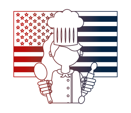 restaurant female chef with flag of USA and cookware vector illustration design Illustration
