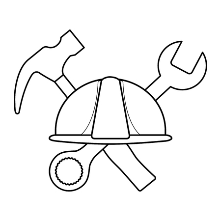 helmet construction with hammer and wrench key tools crossed vector illustration design Vetores
