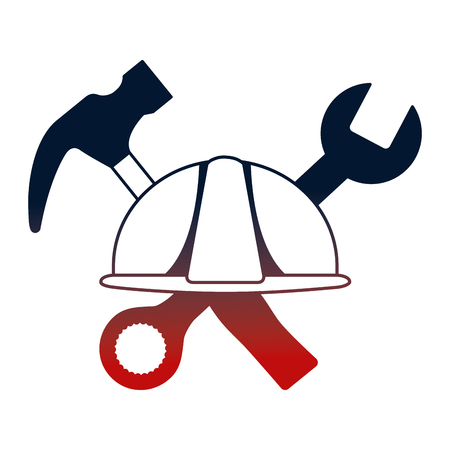 helmet construction with hammer and wrench key tools crossed vector illustration design Çizim