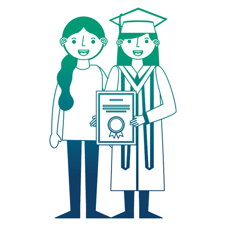 young woman graduated with diploma and sister vector illustration design