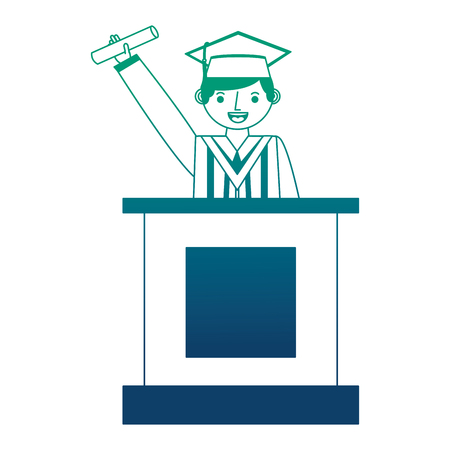 young man graduated with diploma in podium vector illustration design