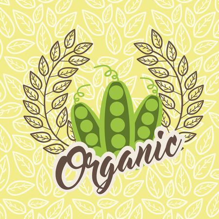 peas food healthy organic emblem vector illustration Çizim