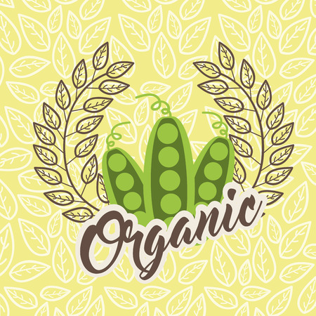 peas food healthy organic emblem vector illustration Illustration