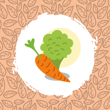 broccoli and carrot vegetables organic natural vector illustration