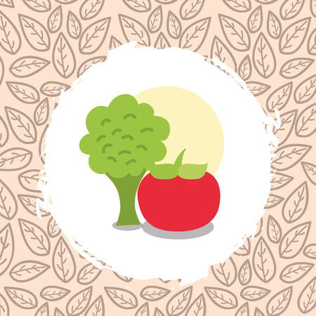tomato and broccoli vegetables organic natural vector illustration