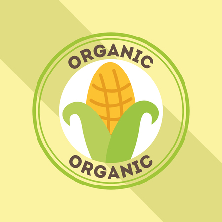 corn food fresh organic label vector illustration Ilustração