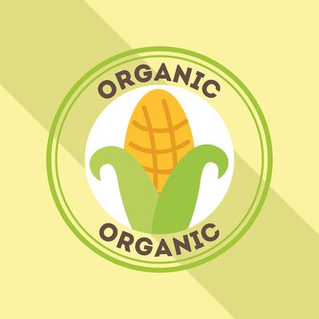 corn food fresh organic label vector illustration Illustration