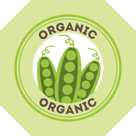 peas food fresh organic label vector illustration Banque d'images - 105945731