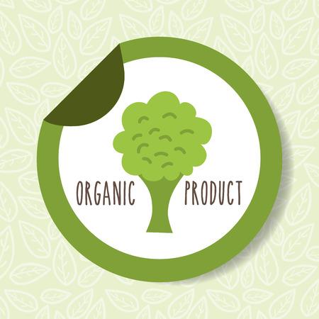 broccoli vegetable organic products tag vector illustration Standard-Bild - 112384552