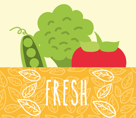 tomato broccoli and peas vegetables food fresh vector illustration Illustration