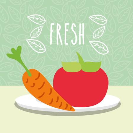 tomato and carrot vegetables food fresh in dish vector illustration Standard-Bild - 112384567