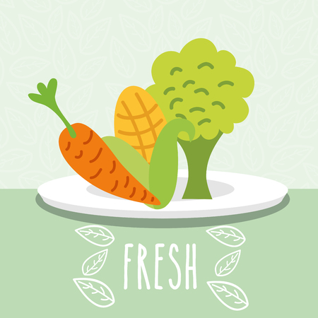 carrot corn and broccoli vegetables food fresh in dish vector illustration Stok Fotoğraf - 112384568