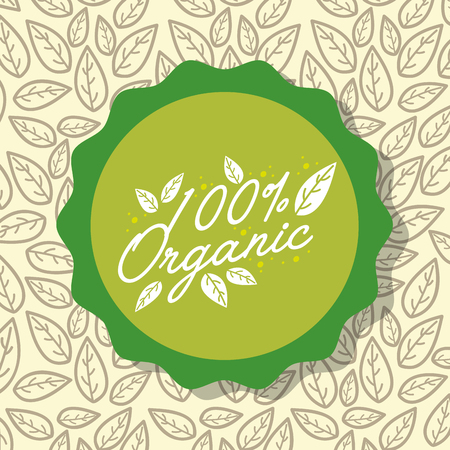 food 100 organic natural leaves background vector illustration