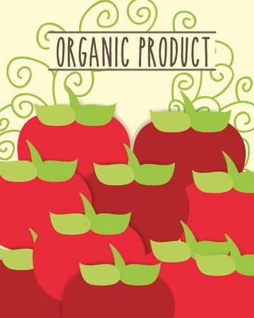 organic product fresh vegetables tomatoes vector illustration