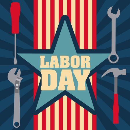 labor day card tool keys hammer screwdriver vector illustration