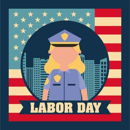 labor day card sticker police woman blonde american flag backgorund vector illustration