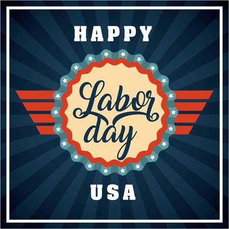 labor day card sticker red ribbon sign usa vector illustration