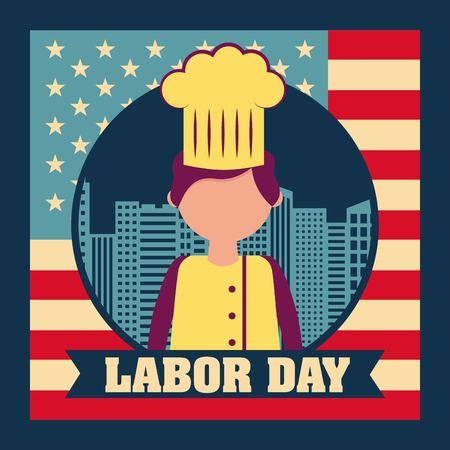 labor day card chef man celebrate job work vector illustration
