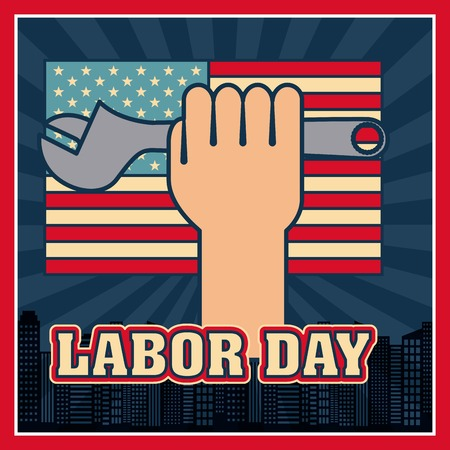labor day hand holding combined wrench city background vector illustration Çizim