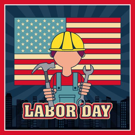 labor day builder holding hammer wrench city american flag vector illustration