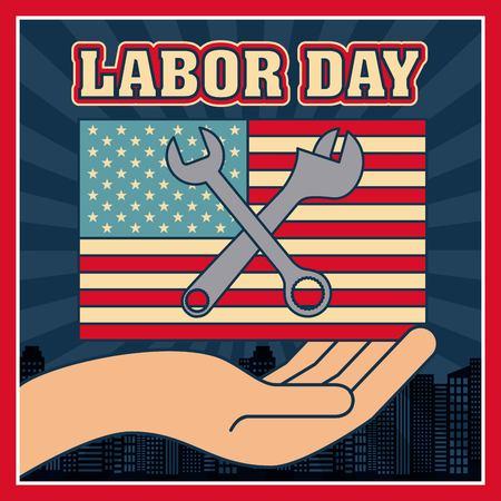 main de la fête du travail montrant drapeau américain outils clé vector illustration Vecteurs