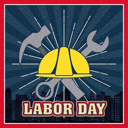 casque de fête du travail avec des outils marteau style grungre ville background vector illustration