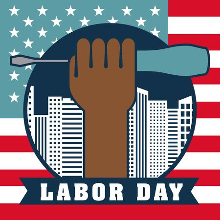 labor day afro american hand holding screwdriver usa flag background vector illustration