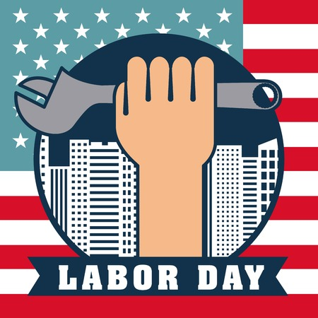 labor day hand holding wrench sign label colors vector illustration