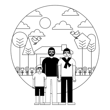 grandfather with son and grandson vector illustration design