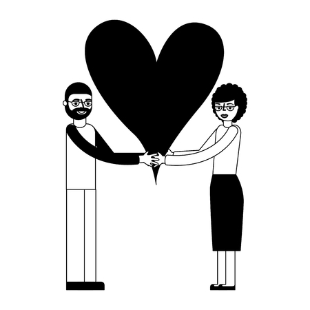 cute grandparents couple holding love heart vector illustration