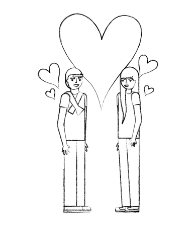 teenagers boy and girl with love heart vector illustration
