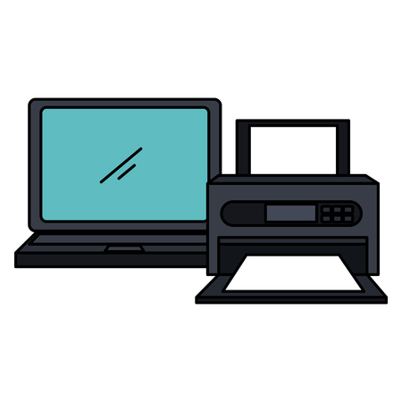 laptop computer with printer vector illustration design 스톡 콘텐츠 - 105558131